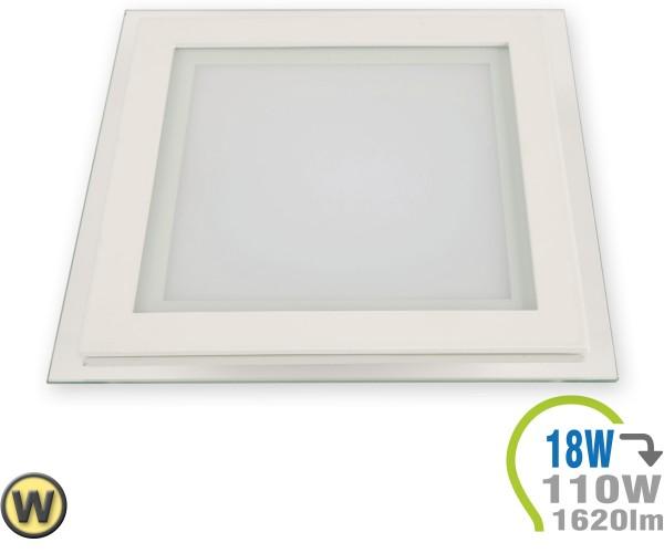 LED Paneel Einbauleuchte Glas 18W Eckig Warmweiß