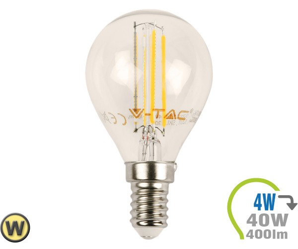 E14 LED Lampe 4W Filament P45 Warmweiß