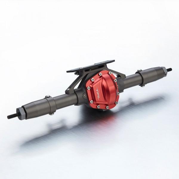 Antriebseinheit Hinten komplett V2 Titan/Rot Axial SCX 10