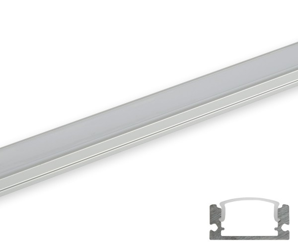 Aluminum Profil schmal flach gerundete Abdeckung matt 2m