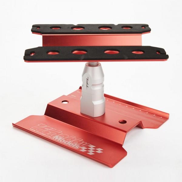 Auto Montagestand hoch 1/10 drehbar rot eloxiert