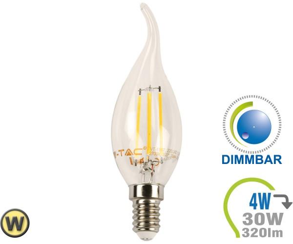 E14 LED Kerze 4W Filament geschwungen Warmweiß Dimmbar