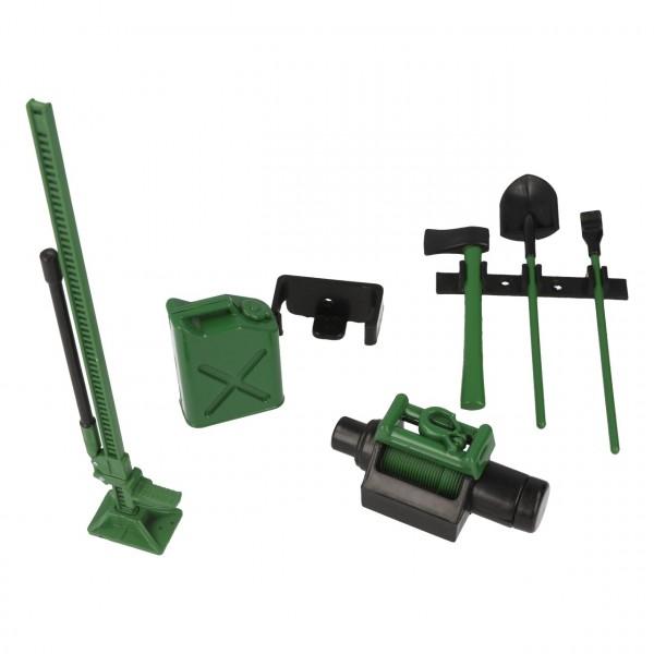 Werkzeug Set mit Halterung Dekor Grün
