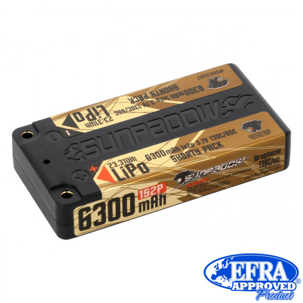 LiPo Akku  6300mAh 130C/65C 1s Shorty Ultra LCG 4mm Buchse