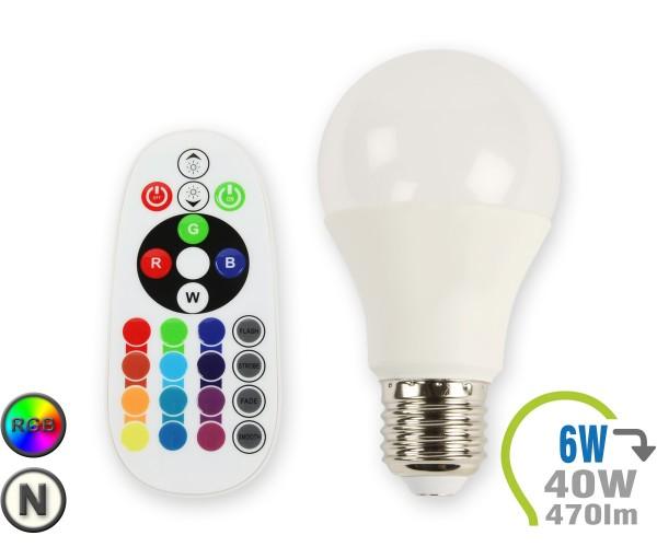 E27 LED Lampe 6W A60 RGB mit Fernbedienung Neutralweiß