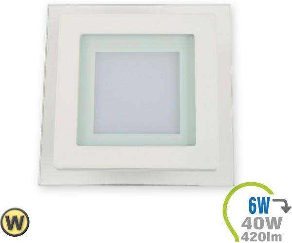 LED Paneel Einbauleuchte Glas 6W Eckig Warmweiß