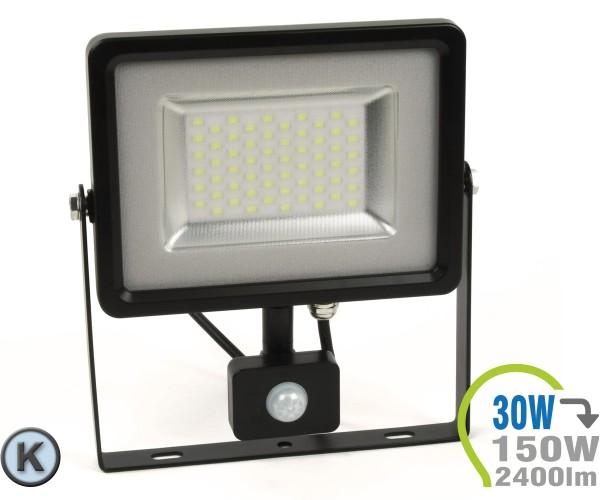LED Strahler 30W SMD Slim mit Bewegungsmelder Kaltweiß