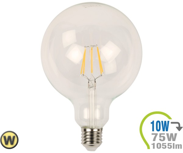 E27 LED Globe 10W Filament G125 Warmweiß