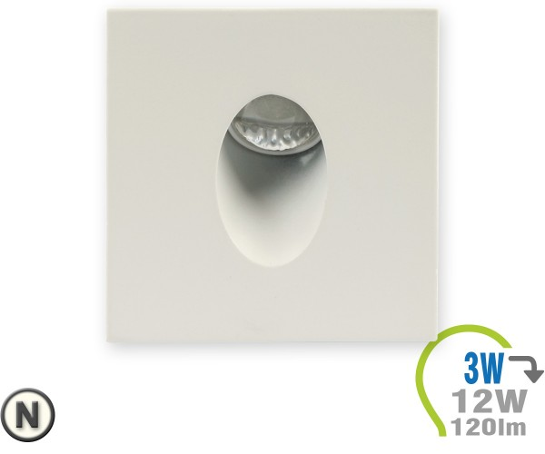 LED Einbauleuchte für Stufen 3W Eckig Neutralweiß