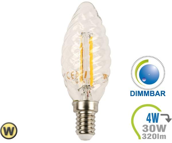 E14 LED Kerze 4W Filament verdreht Warmweiß Dimmbar