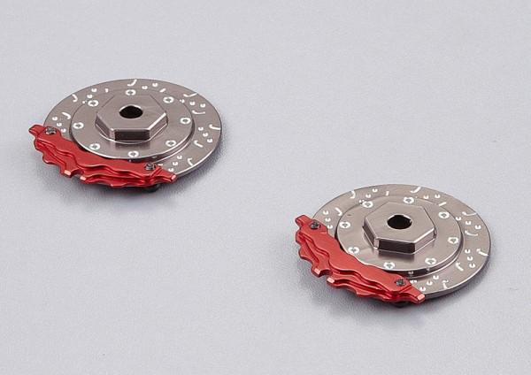 Bremsscheiben mit Sattel Grau-Rot (2 Stk)