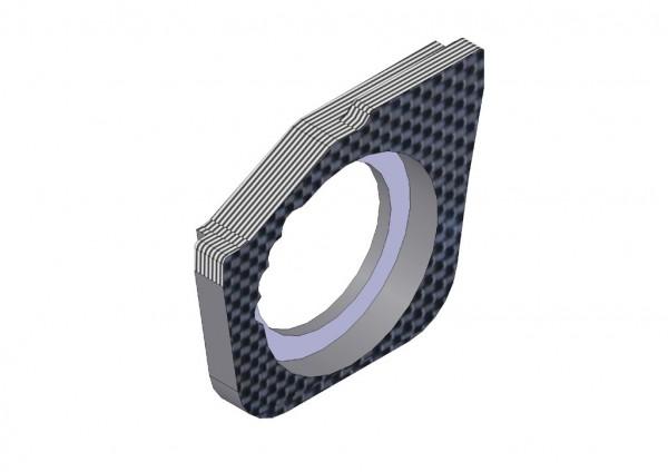 4mm Vordere Riemenspannungs Hub Halter Karbon rechts