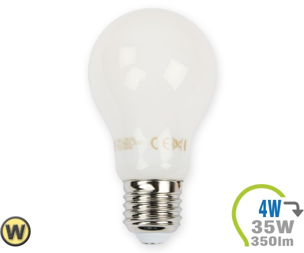 E27 LED Lampe 4W Filament weiß A60 Warmweiß