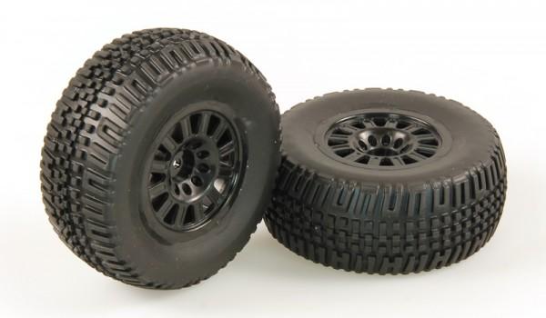 Räder verklebt, schwarze Felge, 2 Stück (Dominus SC)