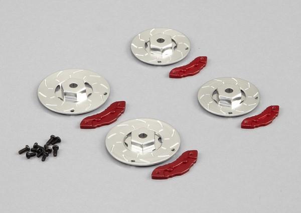 Bremsscheiben mit Sattel Silber-Rot (4 Stk)