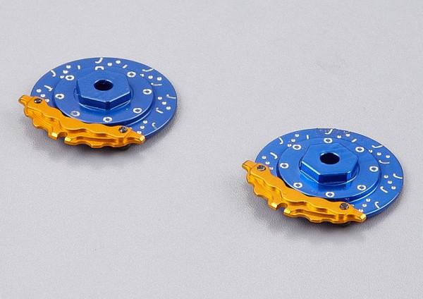 Bremsscheiben mit Sattel Blau-Gold (2 Stk)