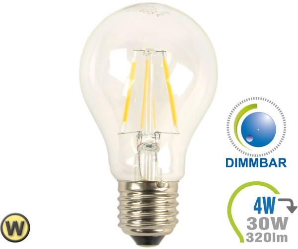 E27 LED Lampe 4W Filament A60 Warmweiß Dimmbar