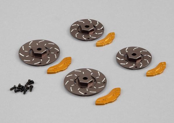 Bremsscheiben mit Sattel Grau-Gold (4 Stk)