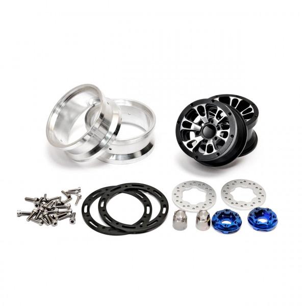 "CNC Alu.1.9""beadlock ring 6 Spoke Wheels Set (Black) W/ Brak"