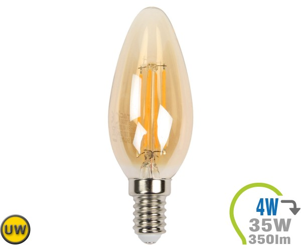 E14 LED Kerze 4W Filament Ultra-Warmweiß