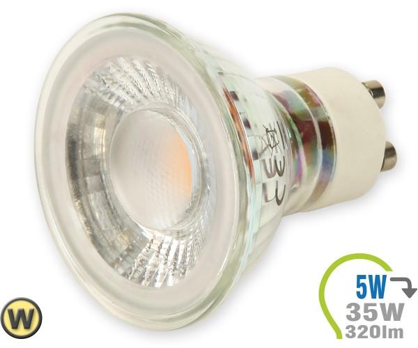 GU10 LED Lampe 5W Spot Glas mit Linse Warmweiß