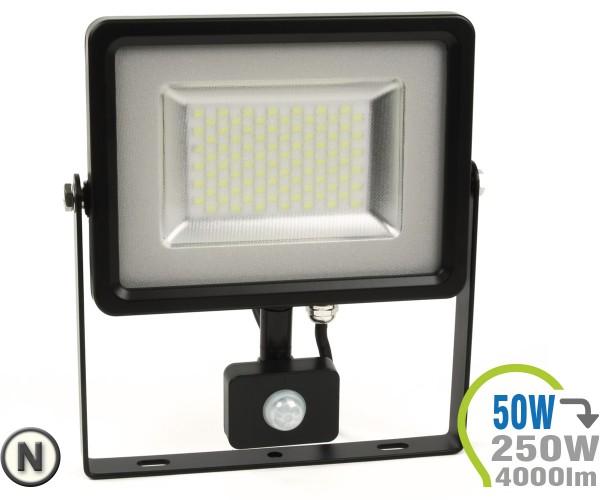 LED Strahler 50W SMD Slim mit Bewegungsmelder Neutralweiß