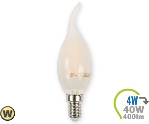 E14 LED Kerze 4W Filament matt geschwungen Warmweiß