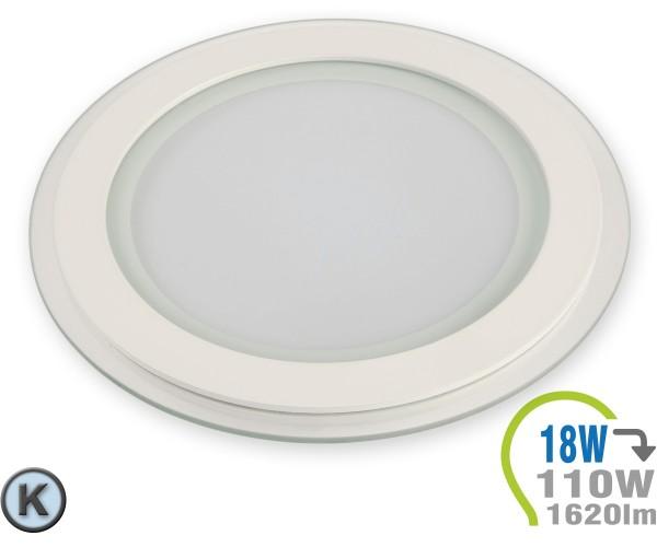 LED Paneel Einbauleuchte Glas 18W Rund Kaltweiß