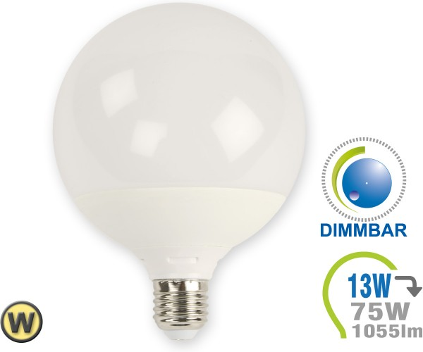 E27 LED Lampe 13W G120 Warmweiß dimmbar