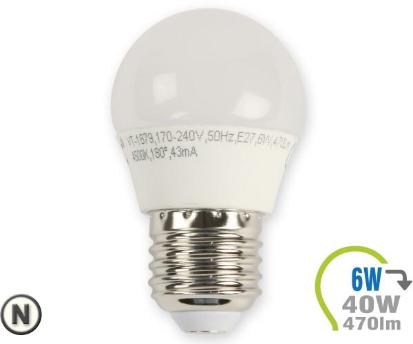 E27 LED Lampe 6W G45  Neutralweiß