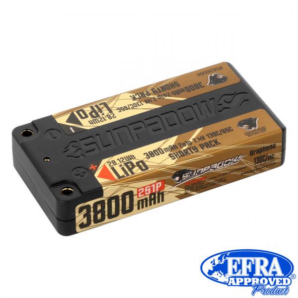 LiPo Akku  3800mAh 130C/65C 2s Shorty Ultra LCG 4mm Buchse