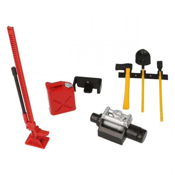 Werkzeug Set mit Halterung Dekor Rot