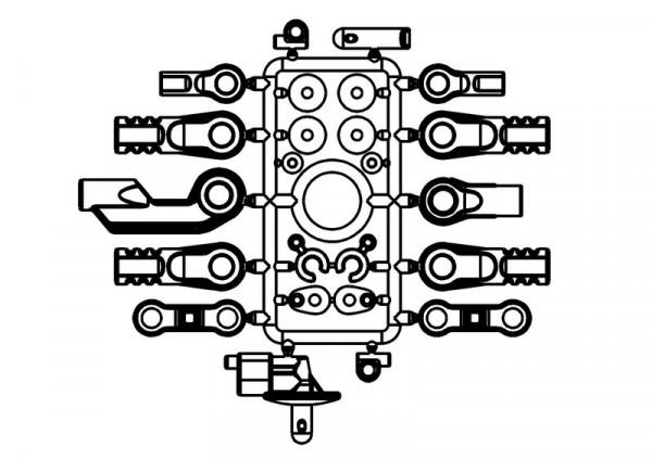 Plastikteile Set Kugelpfannen / Karosseriehalter / Gas-/Brem