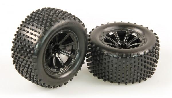Räder verklebt, schwarze Felge, 2 Stück (Dominus TR)