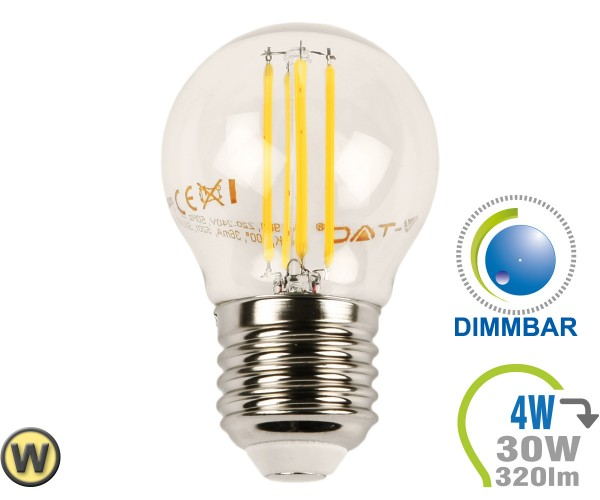 E27 LED Lampe 4W Filament G45 Warmweiß Dimmbar