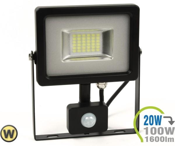 LED Strahler 20W SMD Slim mit Bewegungsmelder Warmweiß