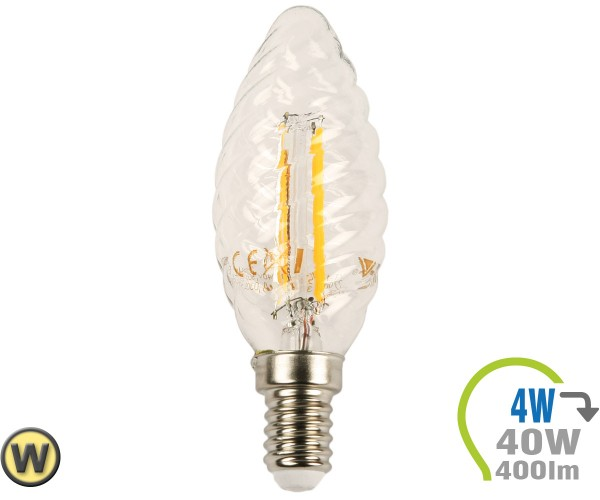 E14 LED Kerze 4W Filament verdreht Warmweiß