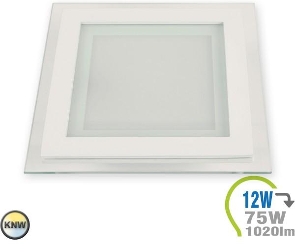 LED Paneel Einbauleuchte Glas 12W Eckig einst.Farbtemperatur