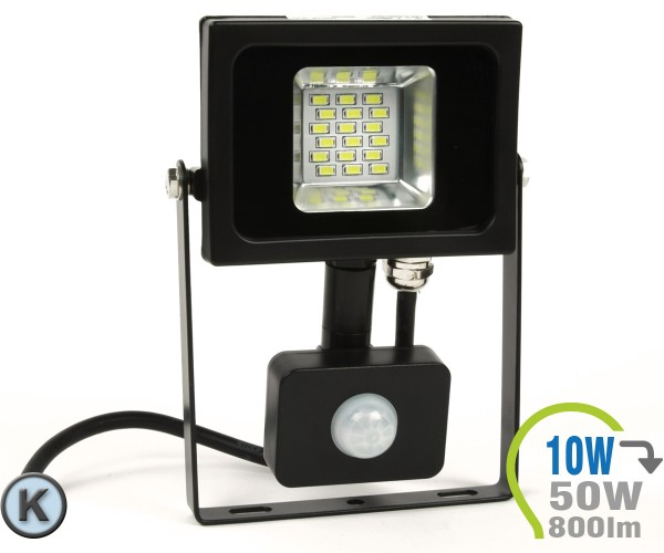 LED Strahler 10W SMD Slim mit Bewegungsmelder Kaltweiß
